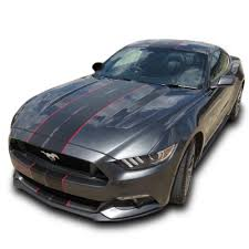 Black Mustang Red Stripes Matte Black Pre Cut Dual Racing Stripes With Pinstripe 8 10 Inch