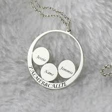 Personalized Name Necklace Sterling Silver Circle Family Name Necklace Personalized Couples Pendant Kids Name