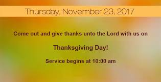 thanksgiving day service from the church ministries