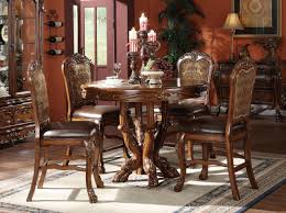 dining sets acme dresden 5 pc round counter height dining table set in brown cherry oak