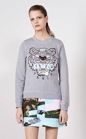 womens sweatshirts u2013 kenzo tiger sweatshirt dove grey solar
