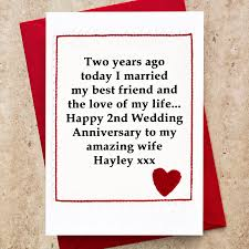 personalised 2nd wedding anniversary card by arnott cards