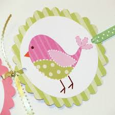 its a baby shower banner cute pink and green birds