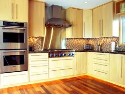 modern l shaped kitchen decor ideas with creative wall and