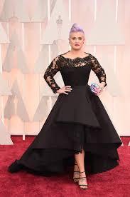 Red And Black Party Dresses 2015 Oscar Kelly Osbourne Celebrity Dress Long Sleeved Lace