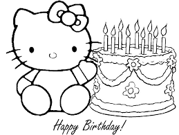 kitty birthday coloring pages