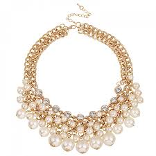 pearl crystal statement necklace images Crystals ivory faux pearls cluster bib statement necklace jpg