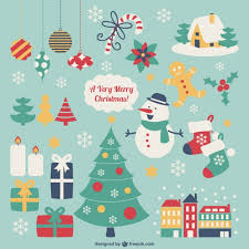 retro style christmas elements vector free download