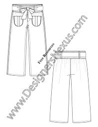 paperbag waist pants v34 flat fashion sketch template designers