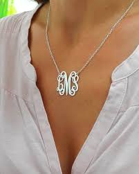 monogram necklace sterling silver personalized monogram necklace silver monogram necklace 1 inch
