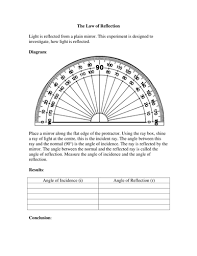 law of reflection experiment worksheet by missmunchie teaching