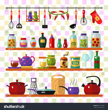 vector flat style icons set kitchen stock vector 353704706