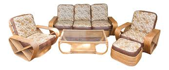 paul frankl pretzel rattan living room set chairish