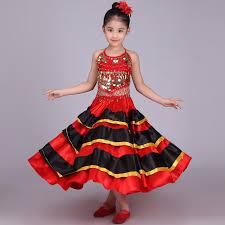 2017 girls spanish dancer costume flamenco fancy dress belly dance