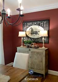 farmhouse country style buffet in dining room with decor and
