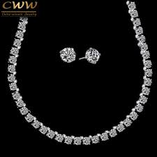 round crystal necklace images Cwwzircons stunning big carat round cz crystal necklace and jpeg