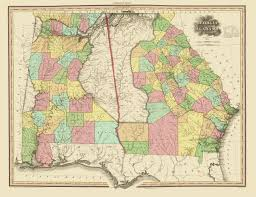 Sparta On Map Old State Map Georgia Alabama Tanner 1825