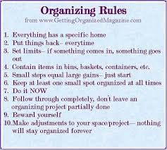organizing yourself organizing rules to follow