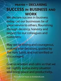 prayer declaring success in business and work success and business