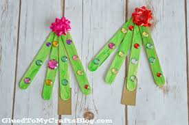 popsicle stick christmas trees kid craft glued to my crafts