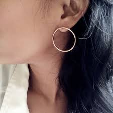 s gold earrings large open circle stud geometric earrings annielka jewelry