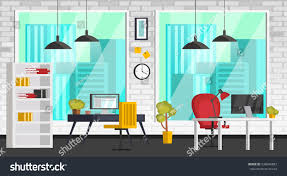 colorful interior set colorful interior office furniture icons stock vector