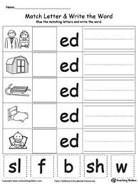 ed word family match letter and write the word word families
