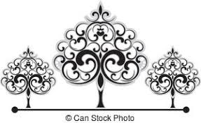 vector illustration of black decorative curly elements and