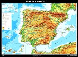 physical map of spain wall maps spain grades 6 12 klettmaps
