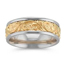 two tone wedding bands engraved comfort fit wedding band in two tone gold 7mm shane co