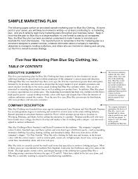 one page marketing free business plan sample template dow cmerge