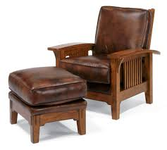 High Back Leather Armchair Furniture Brown Wooden Chair Using Brown Leather Seat And Back