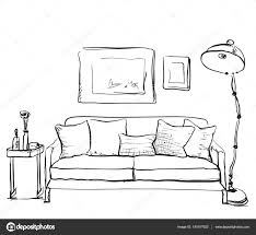 Couch Drawing Hand Drawn Sketch Of Living Room Interior With A Sofa U2014 Stock