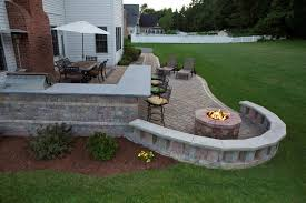 Backyard Patio Ideas With Fire Pit by Exterior Backyard Creations Fire Pit With Kithcen Outdoor Design