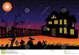light halloween background halloween background with cemetery house and fence silhouettes in