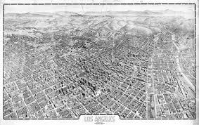 los angeles birds eye view 1909 black and white wall map mural historical map of los angeles 1909 wall mural