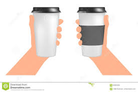 plastic coffee cup templates in hand paper cup to go stock vector