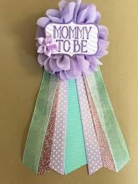 purple teal aqua baby shower corsage pin mommy to be flower ribbon