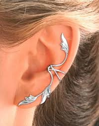 ear earring ear 3 leaf ear cuff earring in gold or rhodium