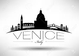 Map Italy Silhouettes Italian Cities by Venice Skyline With Typography Design Royalty Free Cliparts