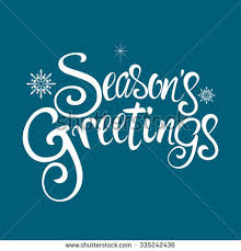 text seasons greetings decorative snowflakes stock