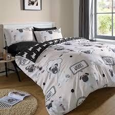 woof pug dog childrens bedding duvet cover set twin full queen