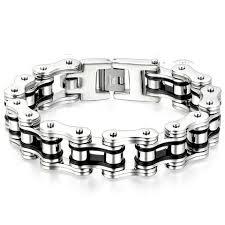 mens black link bracelet images Boniskiss masculine mens bike link bracelet stainless steel silver bla jpg
