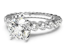 band engagement ring cut shared prong band engagement ring in platinum