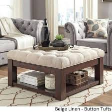 coffe table ottomon coffee table tufted top linen upholstered