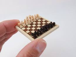 handcarved wooden chess set miniature 1 12 dollhouse art