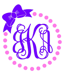 bow monogram circle dot monogram decal circle dot monogram sticker bow