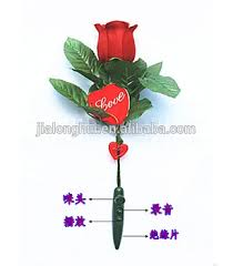 Valentine Flowers Valentine Flowers Gift Led Light Red Rose Sound Recorder Plastic