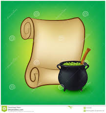 free halloween clipart witch cauldron halloween banner card with empty paper scroll and witches
