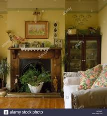 Yellow Fireplace by Houseplants In Fireplace With Wooden Mantelpiece In Small Yellow